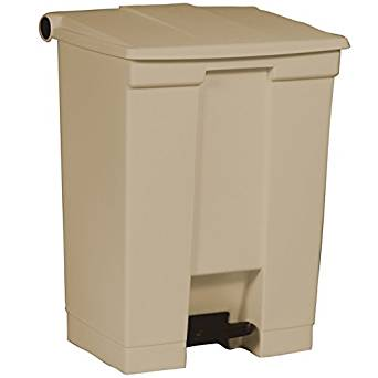 Rubbermaid Commercial Polyethylene 18-Gallon Fire-Safe Step-On Receptacle, Rectangular, Beige